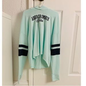 Abercrombie and Fitch teal and navy sweater